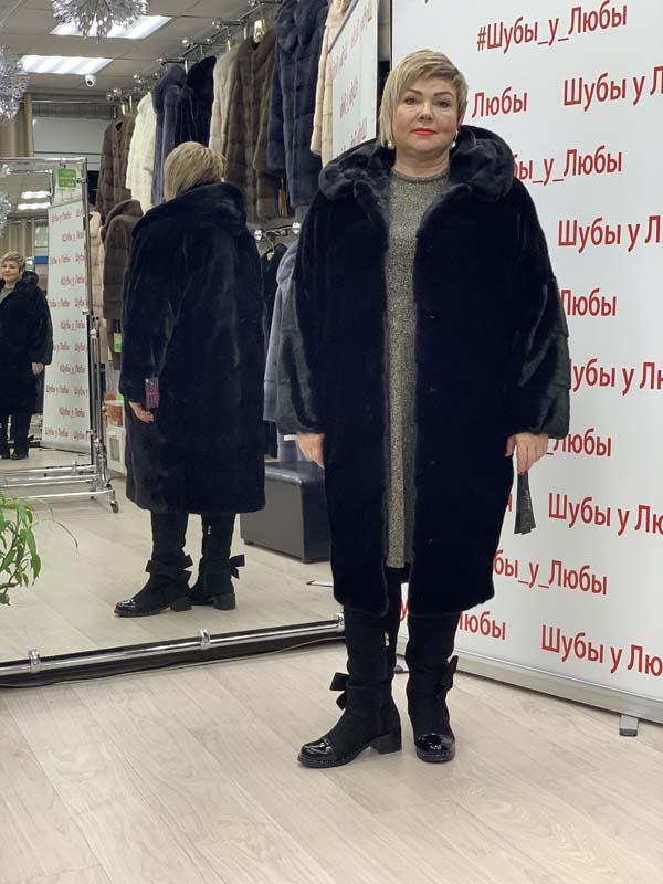 """Шуба норковая скандинавская """"Кокон"""" с капюшоном, черная, выкладка - паркет"""