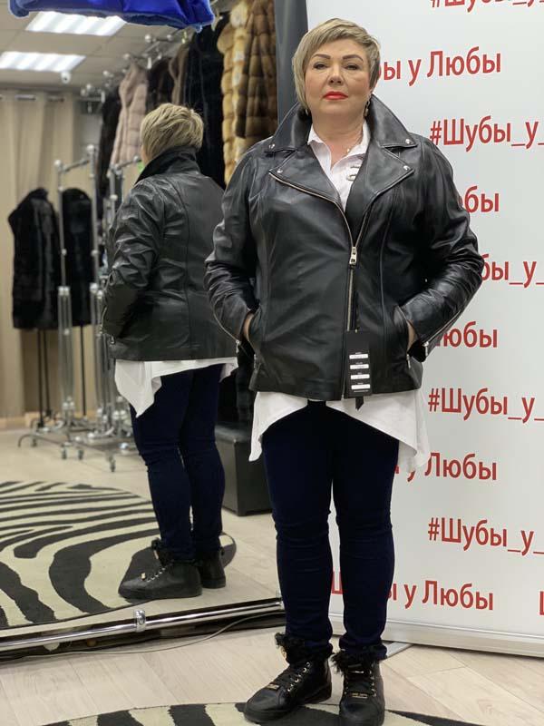 """Женская турецкая куртка из кожи, модель """"Косуха"""", цвет: коралловый и черный"""